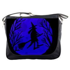 Halloween Witch   Blue Moon Messenger Bags by Valentinaart