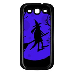 Halloween Witch   Blue Moon Samsung Galaxy S3 Back Case (black) by Valentinaart