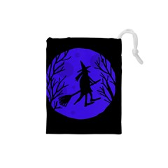 Halloween Witch   Blue Moon Drawstring Pouches (small)