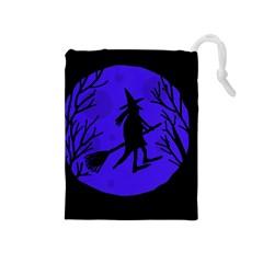 Halloween Witch   Blue Moon Drawstring Pouches (medium)  by Valentinaart