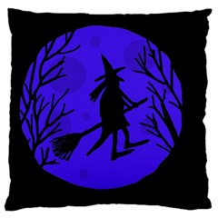 Halloween Witch   Blue Moon Large Flano Cushion Case (two Sides) by Valentinaart