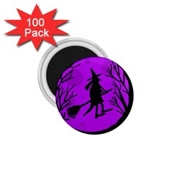 Halloween Witch   Purple Moon 1 75  Magnets (100 Pack)  by Valentinaart