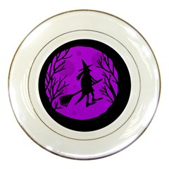 Halloween Witch   Purple Moon Porcelain Plates by Valentinaart