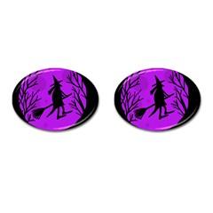 Halloween Witch   Purple Moon Cufflinks (oval) by Valentinaart