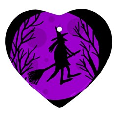 Halloween Witch   Purple Moon Heart Ornament (2 Sides) by Valentinaart