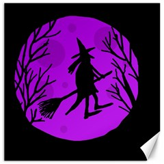 Halloween Witch   Purple Moon Canvas 16  X 16   by Valentinaart