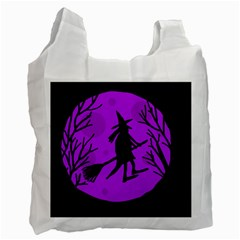 Halloween Witch   Purple Moon Recycle Bag (two Side)  by Valentinaart