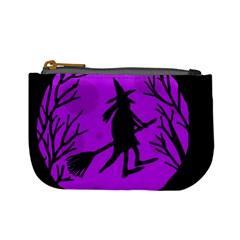 Halloween Witch   Purple Moon Mini Coin Purses by Valentinaart