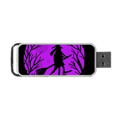 Halloween Witch   Purple Moon Portable Usb Flash (two Sides) by Valentinaart