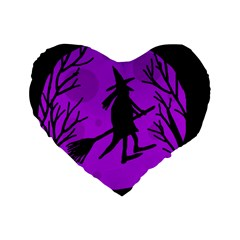 Halloween Witch   Purple Moon Standard 16  Premium Heart Shape Cushions by Valentinaart