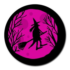 Halloween Witch   Pink Moon Round Mousepads by Valentinaart