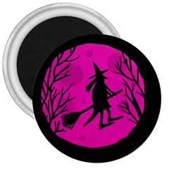 Halloween Witch   Pink Moon 3  Magnets by Valentinaart