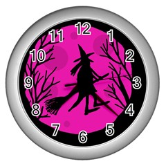 Halloween Witch   Pink Moon Wall Clocks (silver)  by Valentinaart
