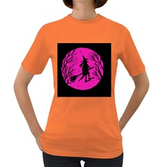 Halloween Witch   Pink Moon Women s Dark T Shirt by Valentinaart
