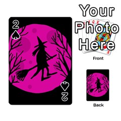 Halloween Witch   Pink Moon Playing Cards 54 Designs  by Valentinaart