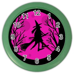Halloween Witch   Pink Moon Color Wall Clocks by Valentinaart