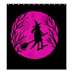 Halloween Witch   Pink Moon Shower Curtain 66  X 72  (large)  by Valentinaart