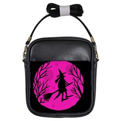 Halloween Witch   Pink Moon Girls Sling Bags by Valentinaart