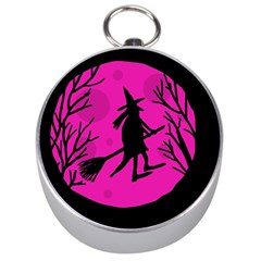 Halloween witch - pink moon Silver Compasses by Valentinaart