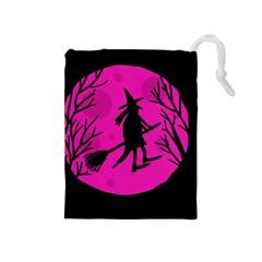 Halloween Witch   Pink Moon Drawstring Pouches (medium)  by Valentinaart
