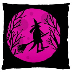 Halloween Witch   Pink Moon Large Flano Cushion Case (two Sides) by Valentinaart