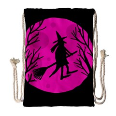 Halloween Witch   Pink Moon Drawstring Bag (large) by Valentinaart