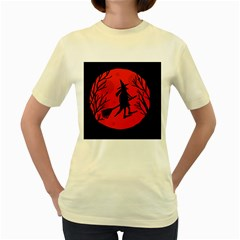 Halloween Witch   Red Moon Women s Yellow T Shirt by Valentinaart
