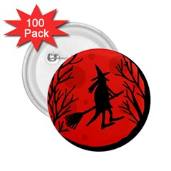 Halloween Witch   Red Moon 2 25  Buttons (100 Pack)  by Valentinaart