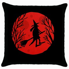 Halloween Witch   Red Moon Throw Pillow Case (black) by Valentinaart