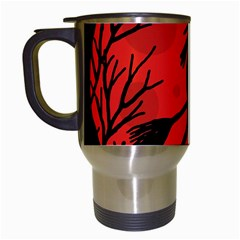 Halloween Witch   Red Moon Travel Mugs (white) by Valentinaart
