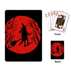 Halloween Witch   Red Moon Playing Card by Valentinaart