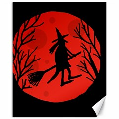 Halloween Witch   Red Moon Canvas 16  X 20   by Valentinaart