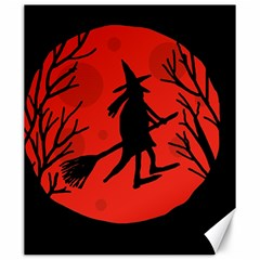 Halloween Witch   Red Moon Canvas 20  X 24   by Valentinaart