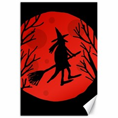 Halloween Witch   Red Moon Canvas 20  X 30   by Valentinaart