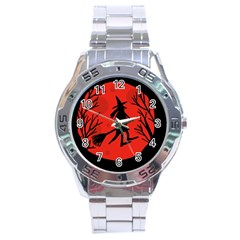 Halloween Witch   Red Moon Stainless Steel Analogue Watch by Valentinaart