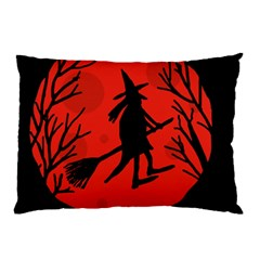 Halloween Witch   Red Moon Pillow Case (two Sides) by Valentinaart