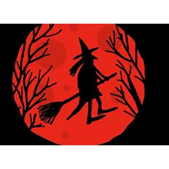 Halloween Witch   Red Moon Birthday Cake 3d Greeting Card (7x5) by Valentinaart