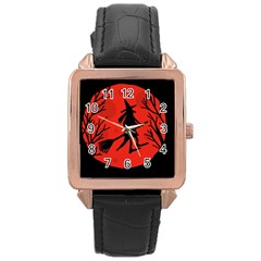 Halloween Witch   Red Moon Rose Gold Leather Watch  by Valentinaart