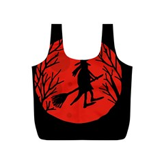 Halloween witch - red moon Full Print Recycle Bags (S)  by Valentinaart