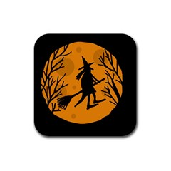 Halloween Witch   Orange Moon Rubber Square Coaster (4 Pack)  by Valentinaart