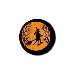 Halloween Witch   Orange Moon Golf Ball Marker (4 Pack) by Valentinaart