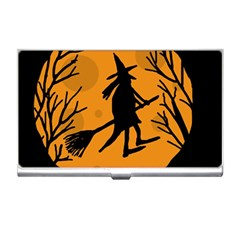 Halloween Witch   Orange Moon Business Card Holders by Valentinaart