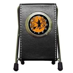 Halloween Witch   Orange Moon Pen Holder Desk Clocks by Valentinaart