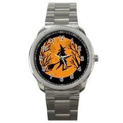 Halloween Witch   Orange Moon Sport Metal Watch by Valentinaart
