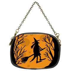Halloween Witch   Orange Moon Chain Purses (two Sides)  by Valentinaart