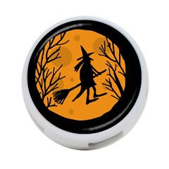 Halloween Witch   Orange Moon 4 Port Usb Hub (two Sides)  by Valentinaart