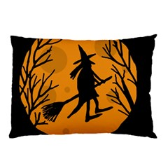 Halloween Witch   Orange Moon Pillow Case (two Sides) by Valentinaart