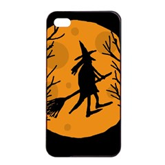 Halloween Witch   Orange Moon Apple Iphone 4/4s Seamless Case (black) by Valentinaart