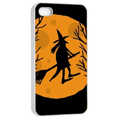 Halloween Witch   Orange Moon Apple Iphone 4/4s Seamless Case (white) by Valentinaart