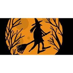 Halloween Witch   Orange Moon You Are Invited 3d Greeting Card (8x4) by Valentinaart